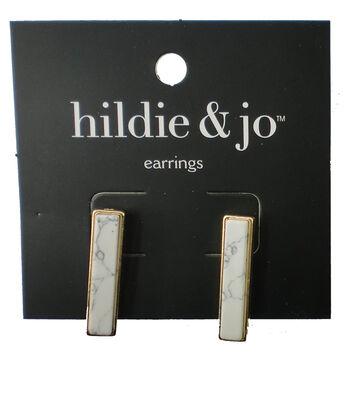 hildie & jo Gold Stud Earrings-Ivory Stone