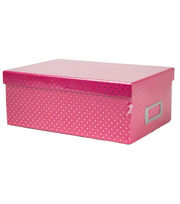 DCWV Pink with Gold Dots Storage Box, , hi-res