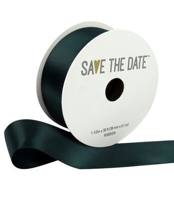 "Save the Date 1.5"" x 30ft Ribbon-Hunter Satin"