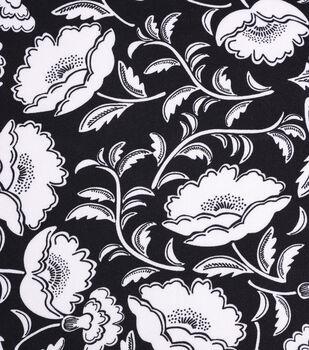 Silky Crepe Fabric-Ivory Folk Floral on Black