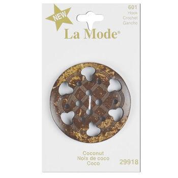"""La Mode 1 3/4"""" Brown Cut Out Button"""