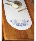 Fairway Stamped Perle Edge Dresser Scarf Twin Butterflies