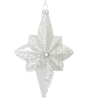 Handmade Holiday Christmas Crystal Cove Glass Glitter Star Ornament