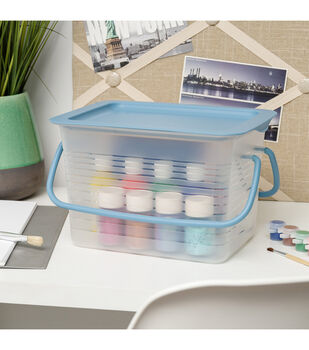 IRIS Small Plastic Stacking Basket with Handles