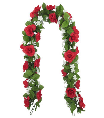 Fresh Picked Spring 66'' Red Rose Chain Garland