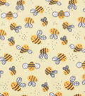 Blizzard Fleece Fabric-Happy Bee on Yellow