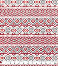 Snuggle Flannel Fabric-Fairisle Stripe With Red