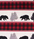 Anti-Pill Plush Fleece Fabric-Buffalo Checks, Bears & Aspens on Stripes