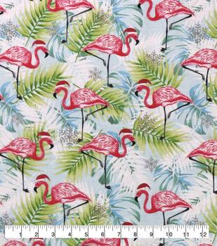 Super Snuggle Flannel Fabric-Tropical Flamingos on Aqua