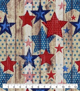 Patriotic Snuggle Flannel Fabric-Red & Blue Vintage Stars on Wood