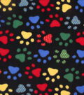 Anti-Pill Fleece Fabric 59\u0022-Bright Dotted Paw Prints On Black
