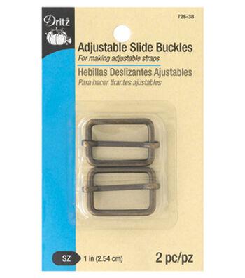 """Dritz 1"""" Adjustable Slide Buckles-Antique Brass"""