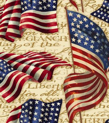 Patriotic Cotton Fabric 43''-We Pledge Allegiance