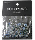 hildie & jo Boulevard 85 Pack Mixed Glass Beads-White/Gray & Blue
