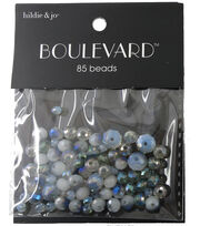 hildie & jo Boulevard 85 Pack Mixed Glass Beads-White/Gray & Blue, , hi-res