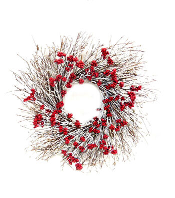 Blooming Holiday 24'' Red Berry & Frosted Twig Wreath