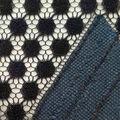Lace Knit Fabric-Blue & Black Triangle