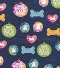 Novelty Cotton Fabric-Walk The Dog