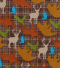 Snuggle Flannel Fabric -Brown Wilderness Animals Tossed