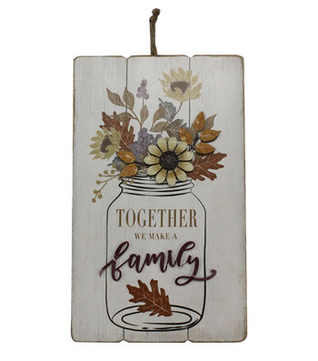 Simply Autumn Wall Decor with 3D Metal Flowers-Together We Make a Family