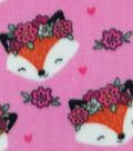 Anti-Pill Plush Fleece Fabric-Foxes with Floral Crowns