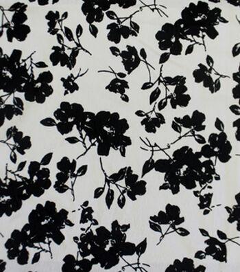 "Sportswear Jacquard Fabric 42""-Black & White Floral"