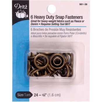 "Dritz 0.63"" Heavy Duty Snap Fasteners 6pcs Size 24 Antique Brass"