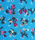 Silky Stretch Fabric 57\u0022-Turquoise Scattered Floral Textured