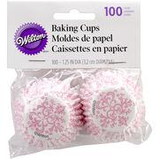 Wilton Mini Baking Cups-Pink Damask 100/Pkg, , hi-res