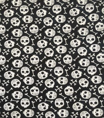 "Halloween Cotton Interlock Fabric 57""-Skull &Bones"