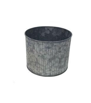 Ribbed Galvanized Cylinder Bucket 6''