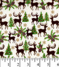 Maker\u0027s Holiday Linen Fabric 58\u0022-Deer with Glitter