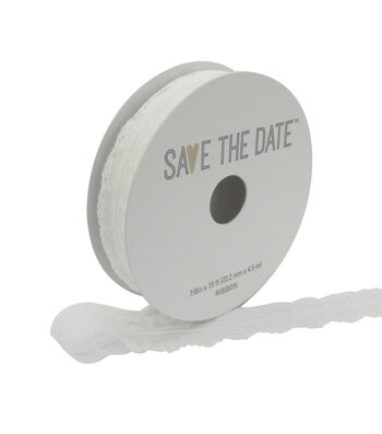 """Save the Date 7/8"""" x 15ft Ribbon-White Lace"""
