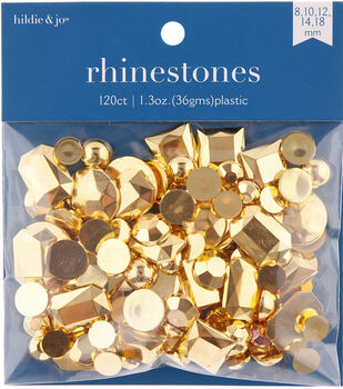 hildie & jo 120 pk 1.3 oz. Assorted Plastic Flat Back Rhinestones-Gold
