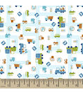Snuggle Flannel Fabric -Cars And Trucks Blue