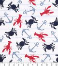 Nautical Cotton Fabric -Crab And Paisley Anchor