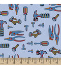 Snuggle Flannel Fabric -Tools Light Blue