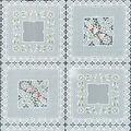 Tablecloth Vinyl 54\u0022-Squares Floral White