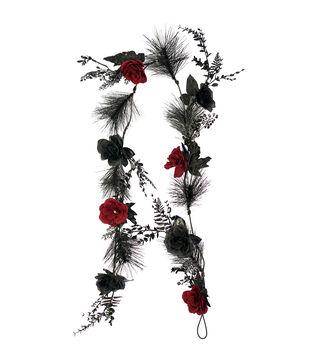 Maker's Halloween 66'' Rose Floral Garland-Black & Red