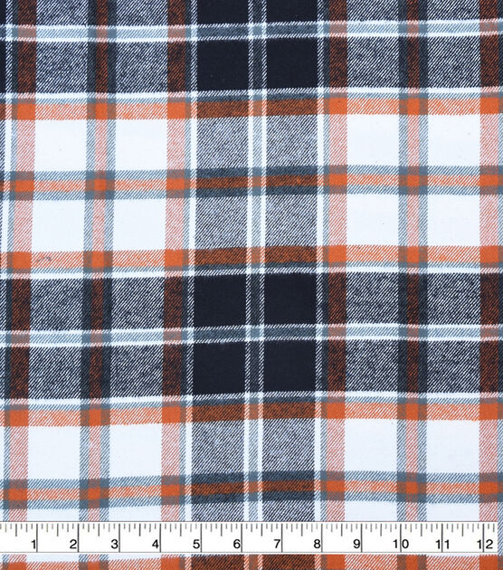 Plaiditudes Brushed Cotton Fabric Ivory, Black & Rust Tricolor Plaid, , hi-res, image 2