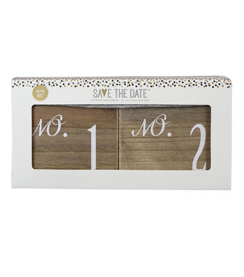 Save The Date Pack of 10 5''x4'' Wooden Decorative Table Numbers