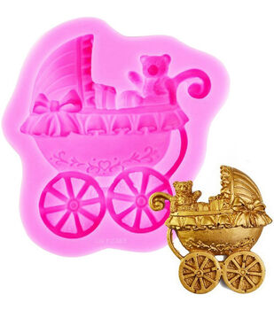 NY Cake Silicone Mold-Pink Baby Carriage