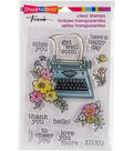 Stampendous Perfectly Clear Stamps 7.25\u0022X4.625\u0022-Floral Typewriter