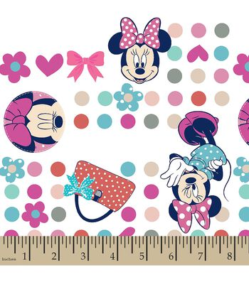 Disney Minnie Mouse Print Fabric-Minnie Dots