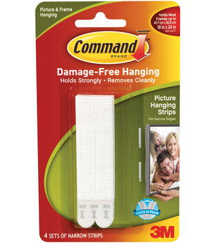 Command Narrow Picture Hanging Strips-White