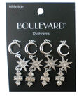 hildie & jo Boulevard 12 Pack Moon & Star Silver Charms-Crystals