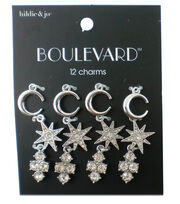 hildie & jo Boulevard 12 Pack Moon & Star Silver Charms-Crystals, , hi-res