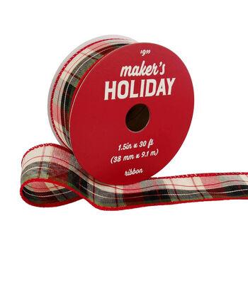 Maker's Holiday Christmas Ribbon 1.5''x30'-Red, Green & Metallic Plaid