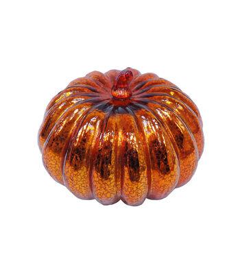 Simply Autumn Large LED Glass Pumpkin-Orange