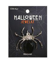hildie & jo Halloween Bling Spider Silver Pendant-Black, , hi-res